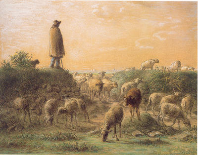 Shepherd Minding His Sheep